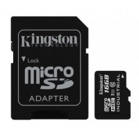 KINGSTON 16GB microSDHC UHS-I Class 10 Industrial Temp Card + SD Adapter Atminties kortelės SD microSD