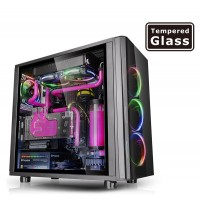 THERMALTAKE View 31 TG blue LED Midi Tower Case front-top I/O ports with Tool-free installation high gloss tempered glass big window Korpusai ir priedai