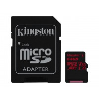 KINGSTON 64GB microSDXC Canvas React 100R/80W U3 USH-I V30 A1 Card with SD adapter Atminties kortelės SD microSD
