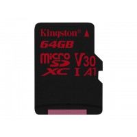 KINGSTON 64GB microSDXC Canvas React 100R/80W U3 USH-I V30 A1 Card without SD adapter Atminties kortelės SD microSD