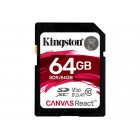 KINGSTON 64GB SDXC Canvas React 100R/80W CL10 USH-I U3 V30 A1 Atminties kortelės SD microSD